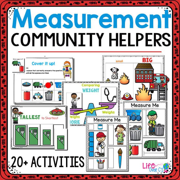 Preschool Measurement community helpers cover