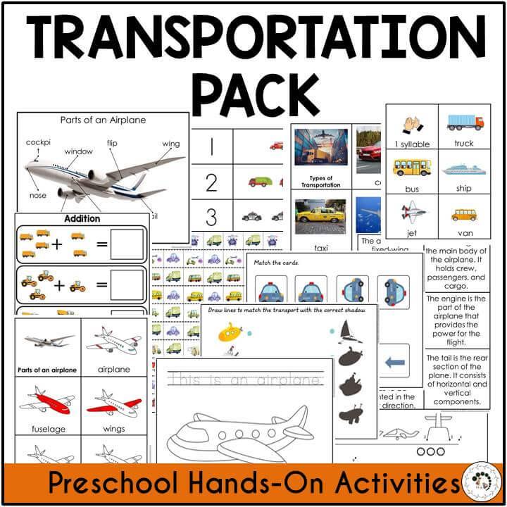 Preschool Transportation Preschool Pack Montessori Nature Printable