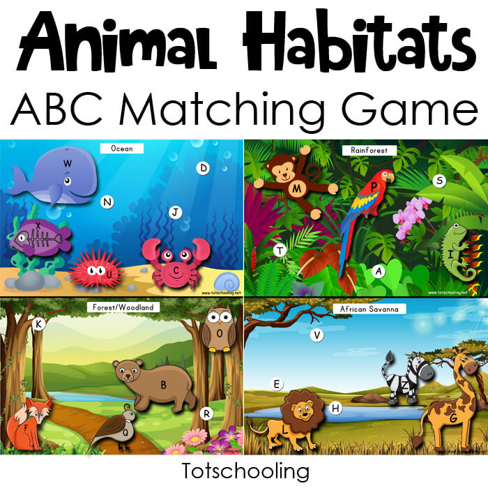 Totschooling - Animal Habitats Alphabet Matching Game