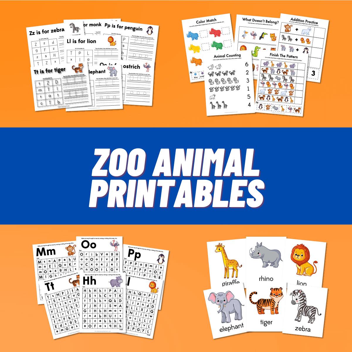 zoo animal printables